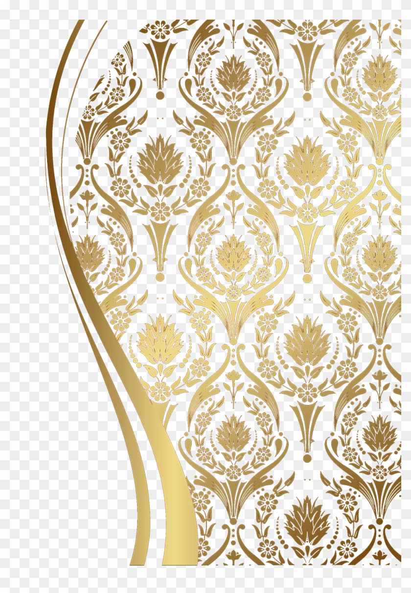 Pattern European Motif Golden Free Png Hq.