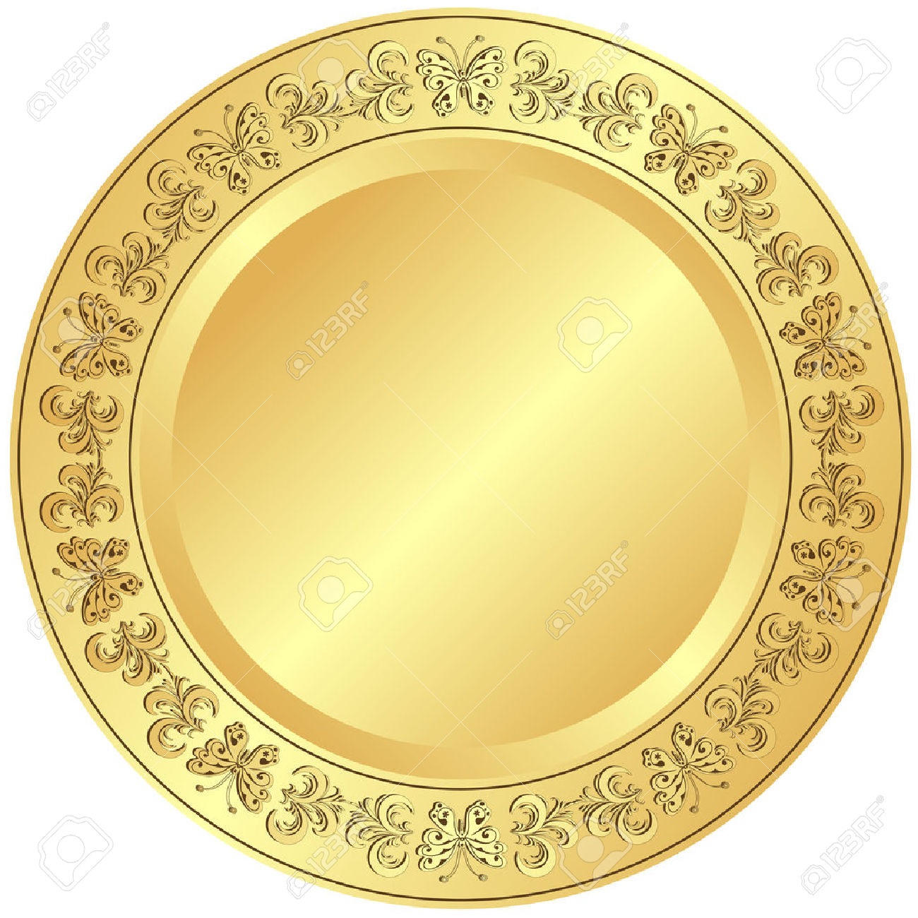 Golden Plate With Floral Ornament On White Background Royalty Free.