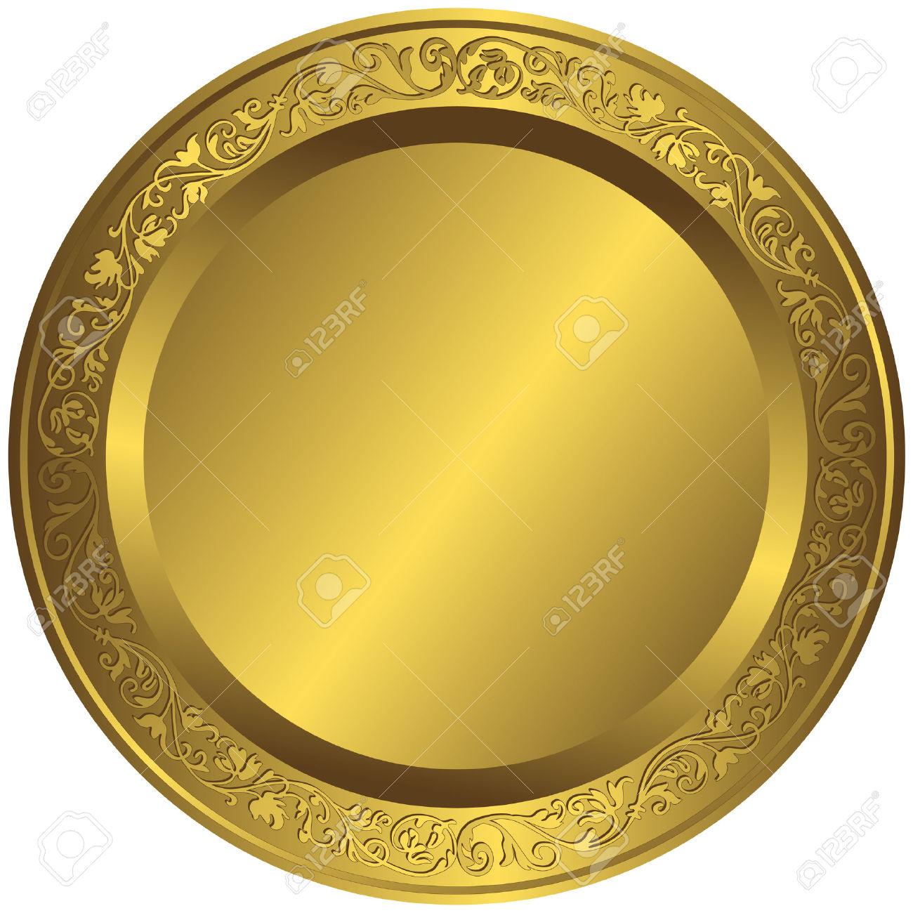 Golden plates clipart.