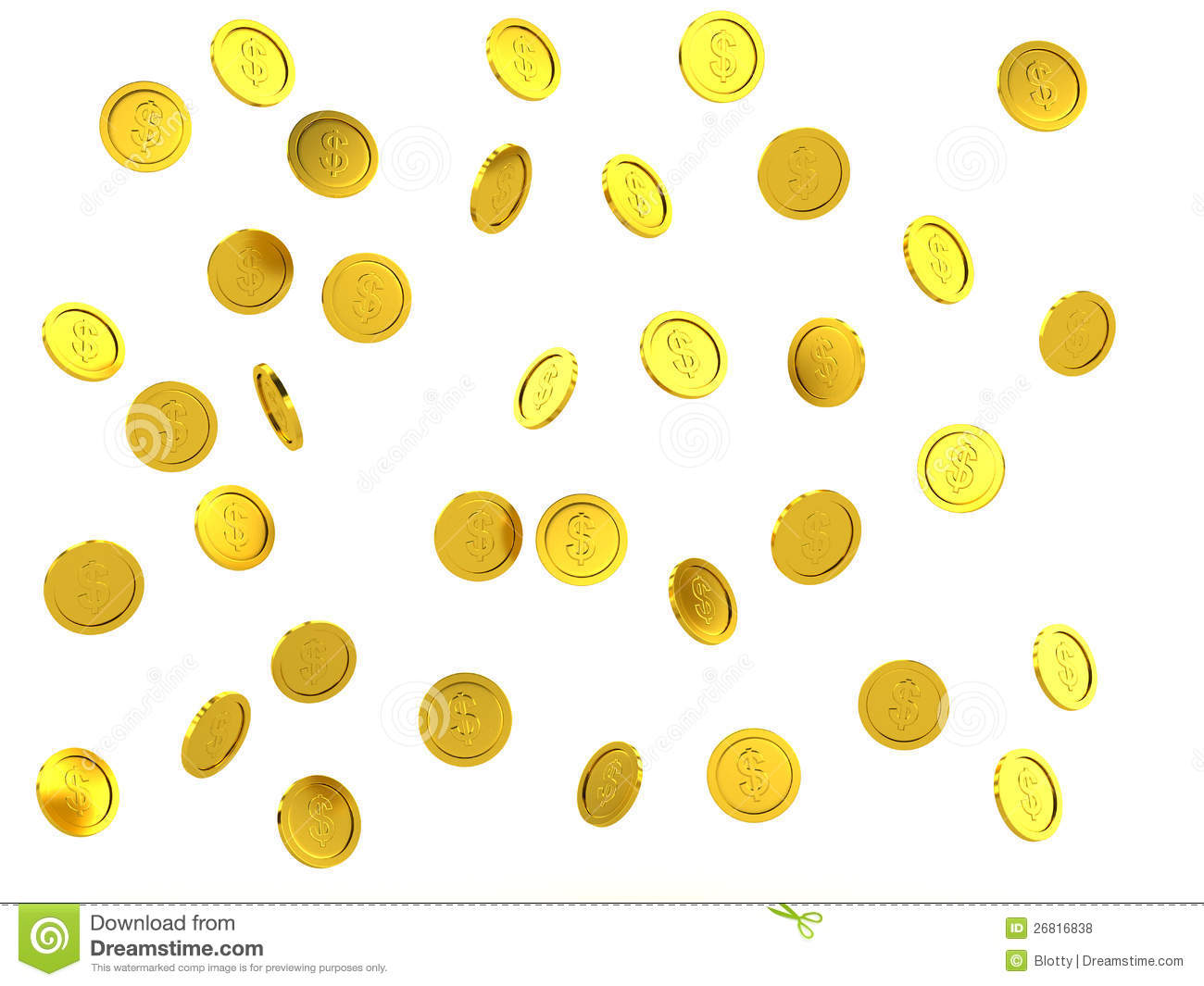 3d Rendered Failing Golden Coins Royalty Free Stock Photos.
