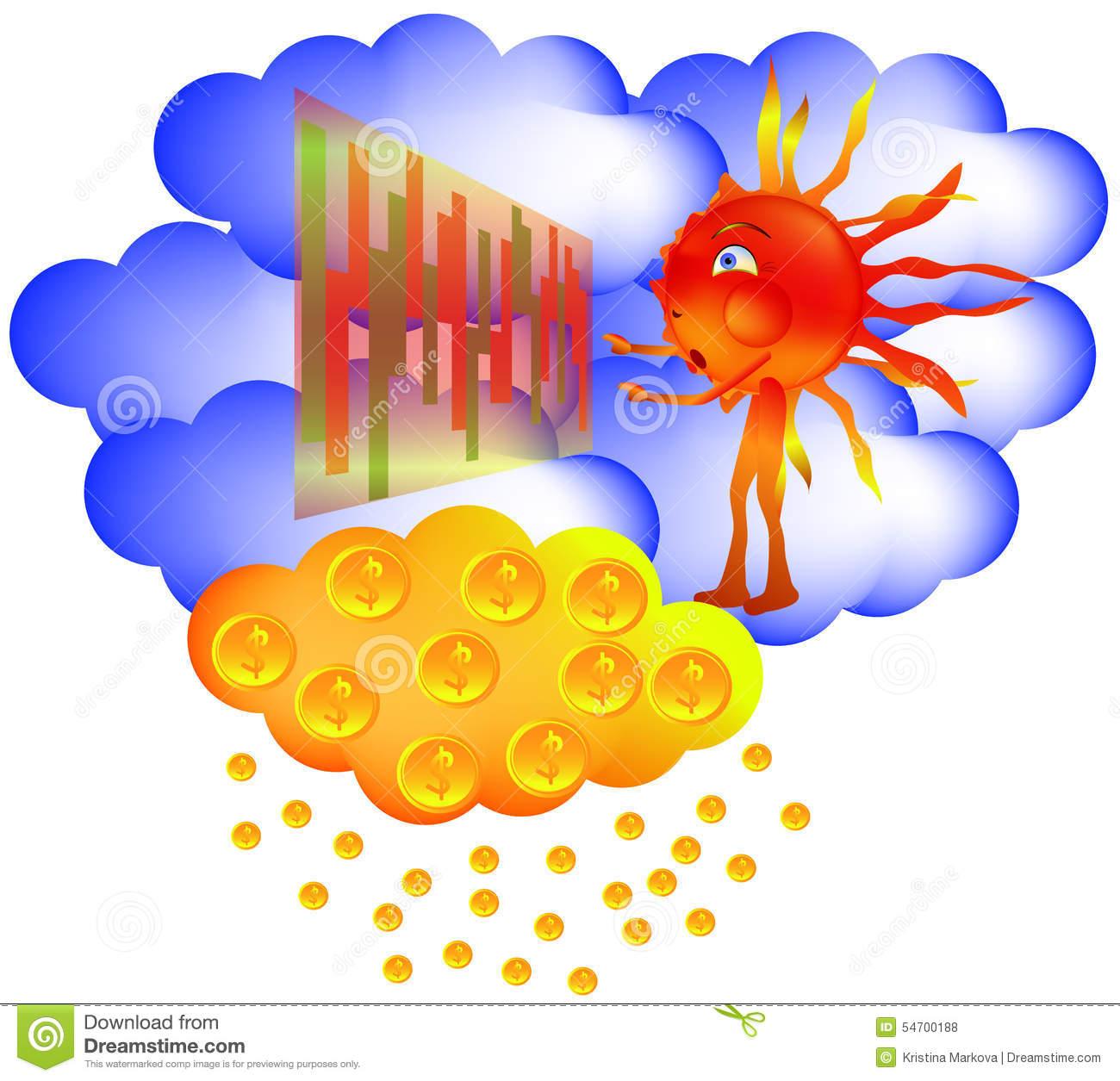 Sun Sky Exchange Winning Golden Rain Stock Vector.