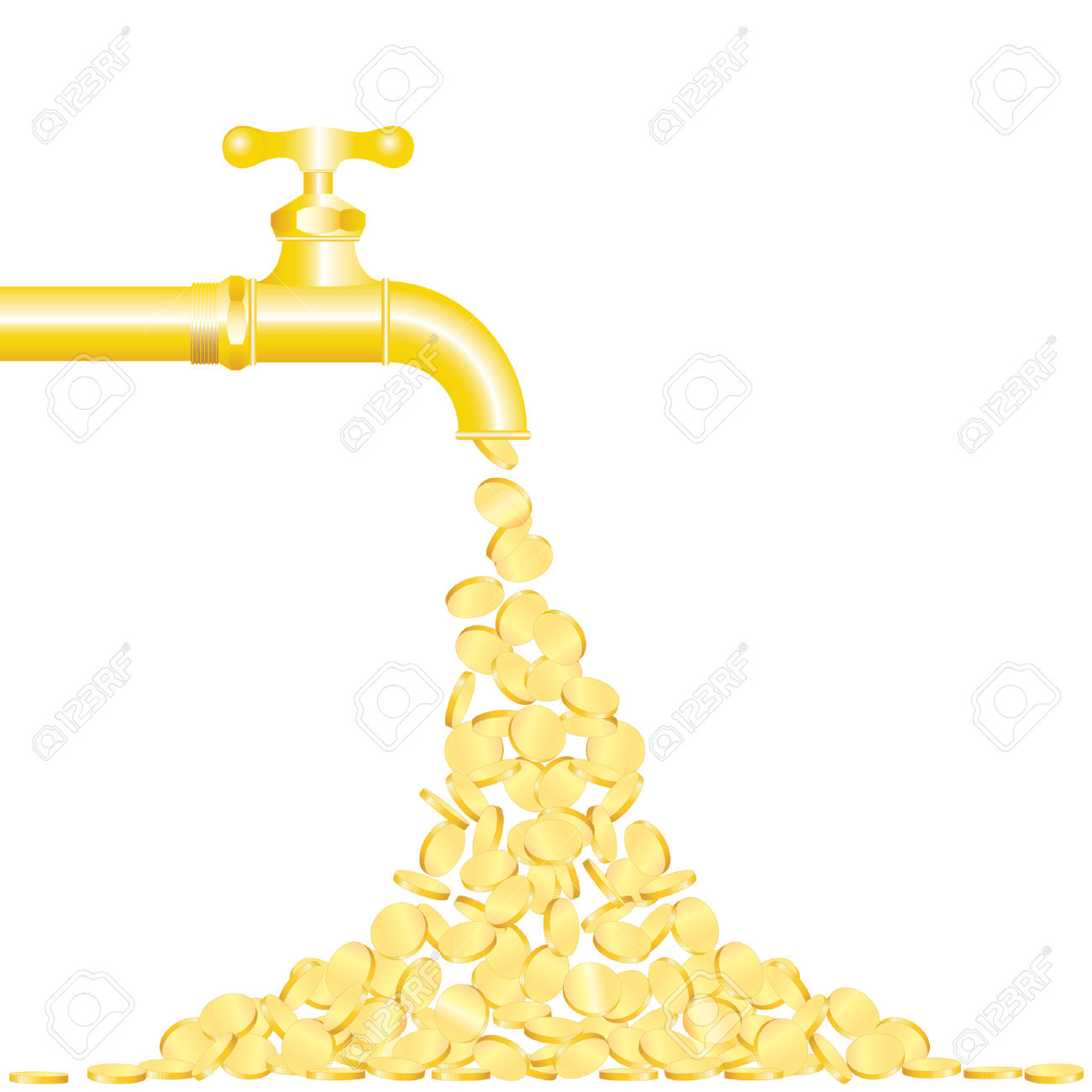 Illustration Of The Golden Coins Falling From Tap Royalty Free.