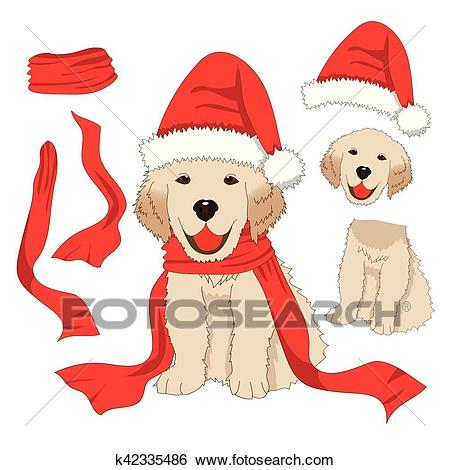 Puppy Golden Retriever with Santa Hat and Scarf. Baby Dog Labrador Greeting  Card Christmas Day isolated on White Background. Clip Art.
