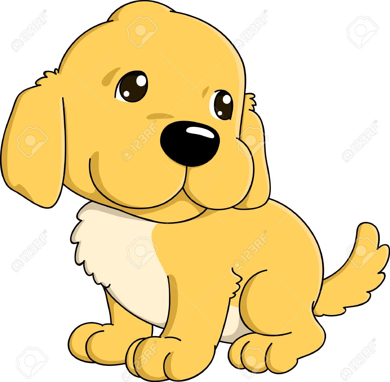 Cute cartoon of golden retriever puppy..