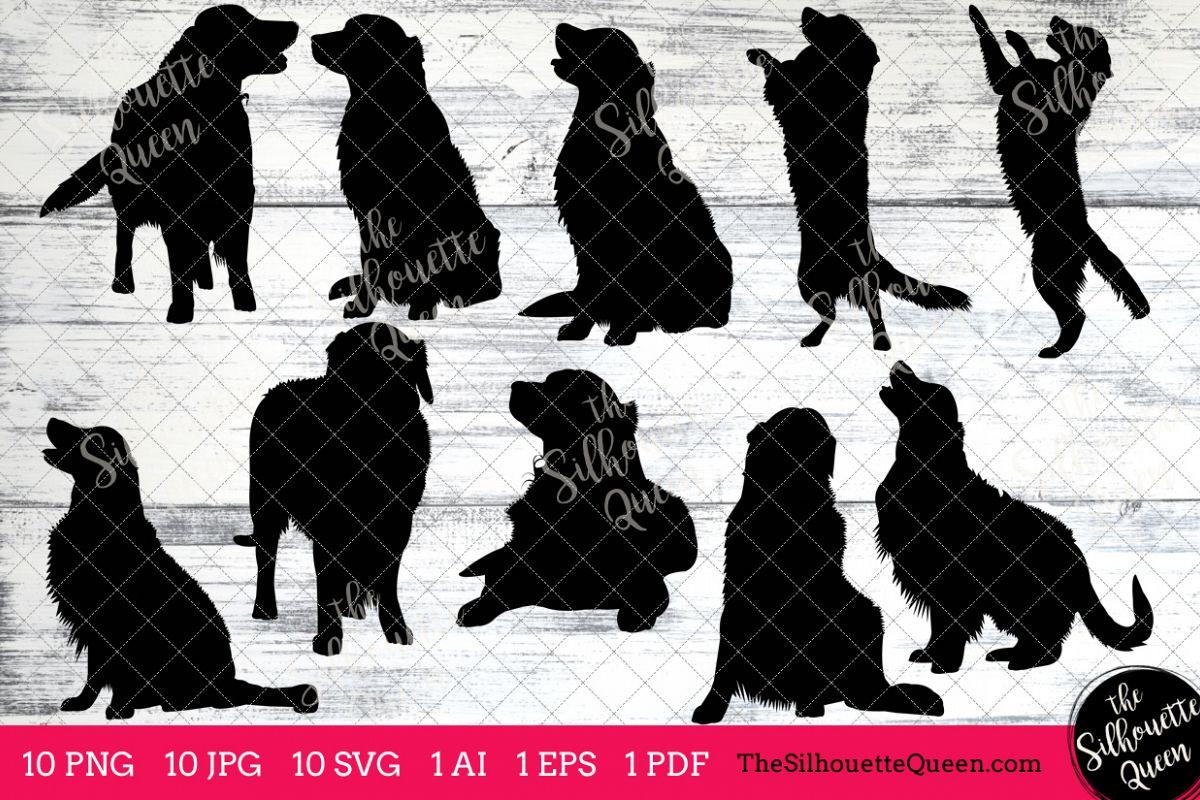 Golden Retriever Silhouettes Clipart Clip Art (AI, EPS, SVGs, JPGs, PNGs,  PDF) , Golden Retriever Dog Vectors.