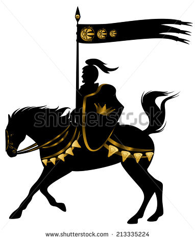 Royal Knight Crown Shield Riding Horse Stock Vector 197790953.