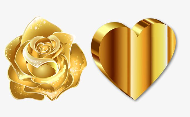Gold Roses And Heart.