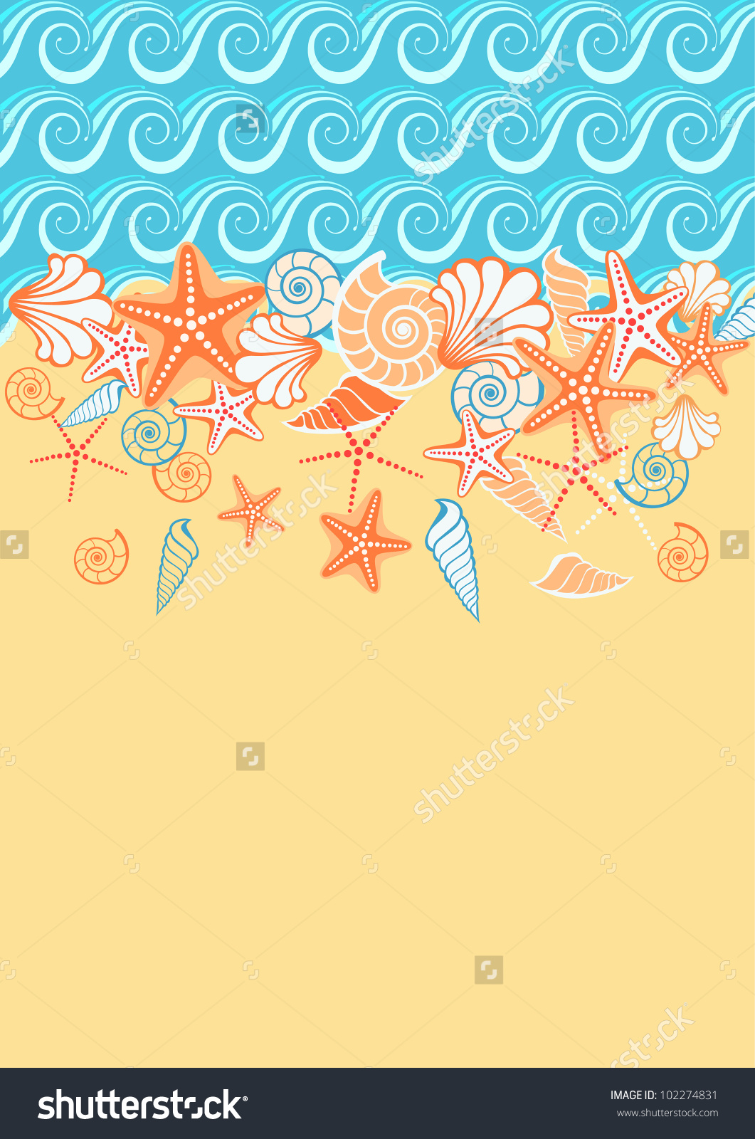 Vector Background Sea Golden Sand Seashells Stock Vector 102274831.