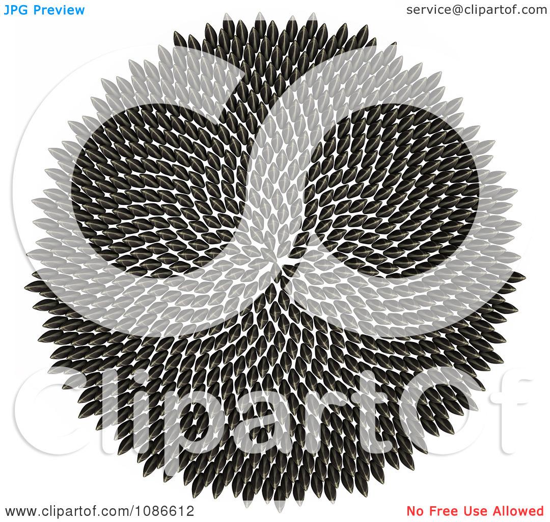 Clipart 3d Fibonacci Golden Ratio Circle Of Sunflower Seeds.
