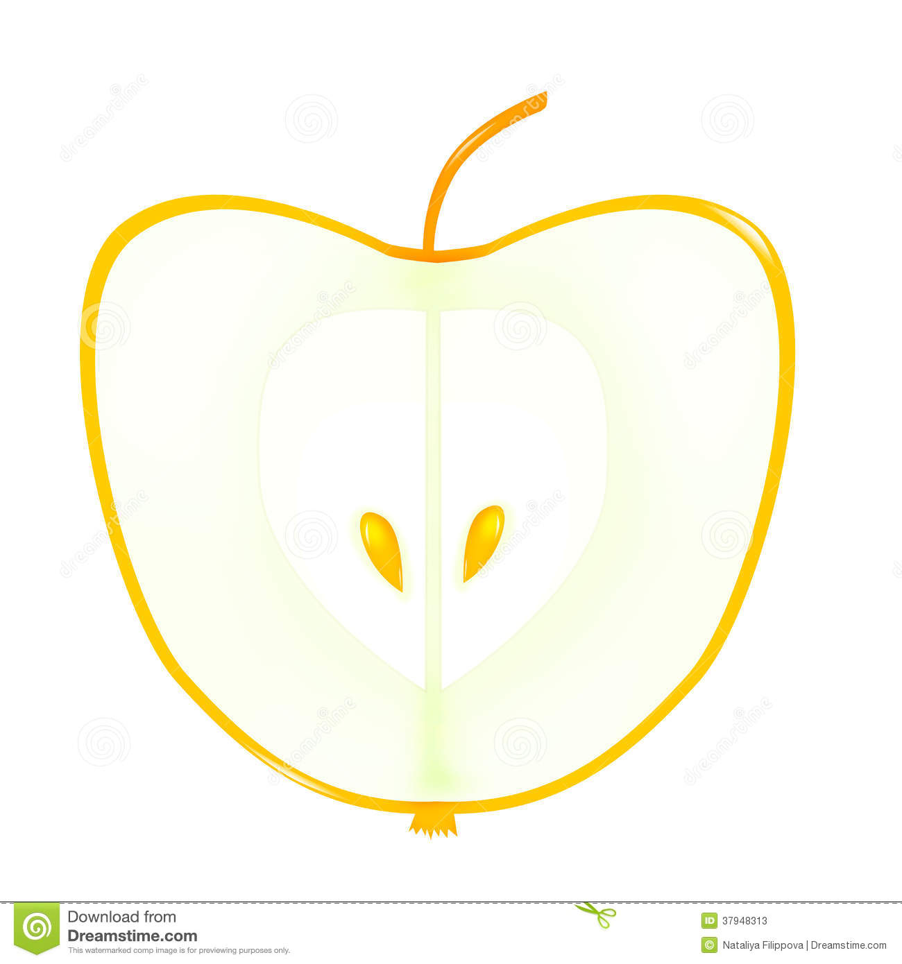 Apple With Golden Seeds Stock Photos.