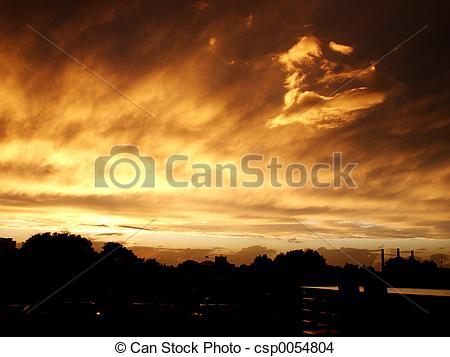 Stock Photo of Golden sky.