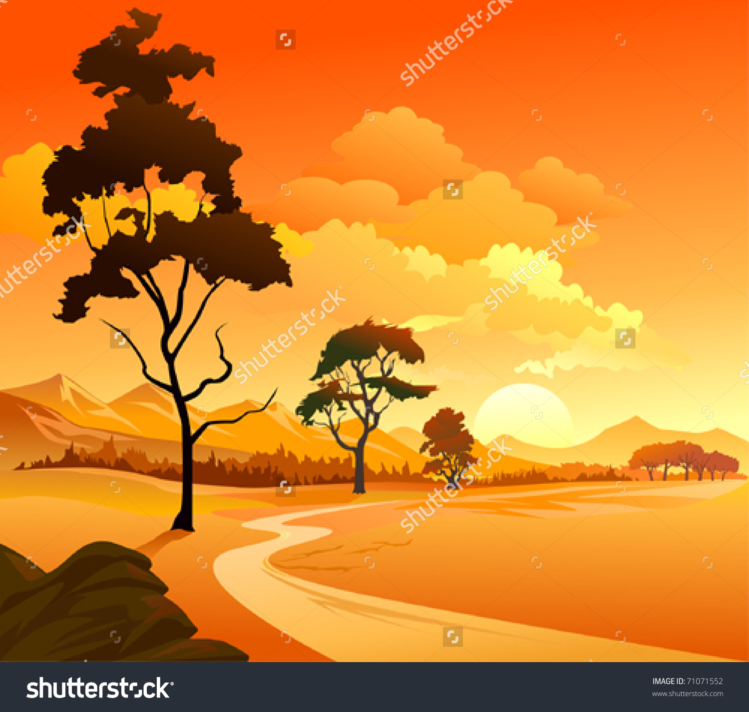 Magnificent Sunset Western Panorama Golden Sky Stock Vector.