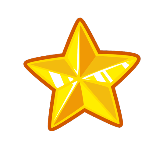 Golden star icon PNG.