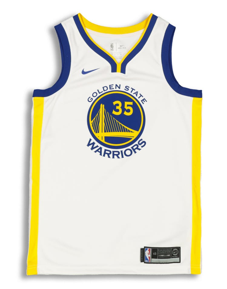 Kevin Durant #35 Golden State Warriors Nike Association Edition Swingman  Jersey White/Blue/Yellow.