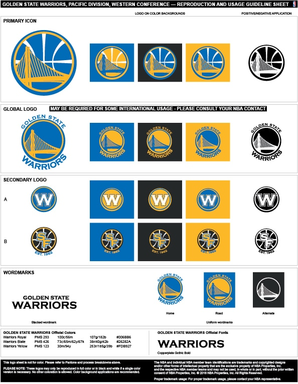 Golden State Warriors Colors Hex, RGB, and CMYK.
