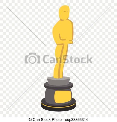 Vector Clip Art of Golden statue cartoon icon.