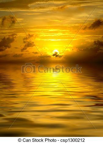 Clip Art of Golden sunset on ocean csp1300212.