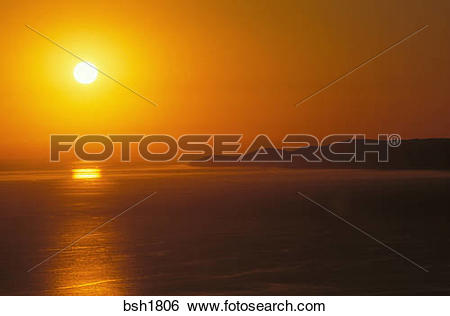 Stock Images of Golden sunset over Santa Cruz Island and the.