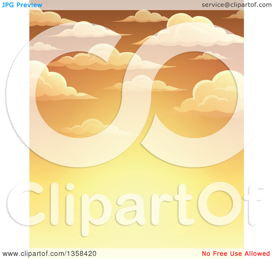 Clipart of a Background of a Golden Sunset Sky with Puffy Clouds.