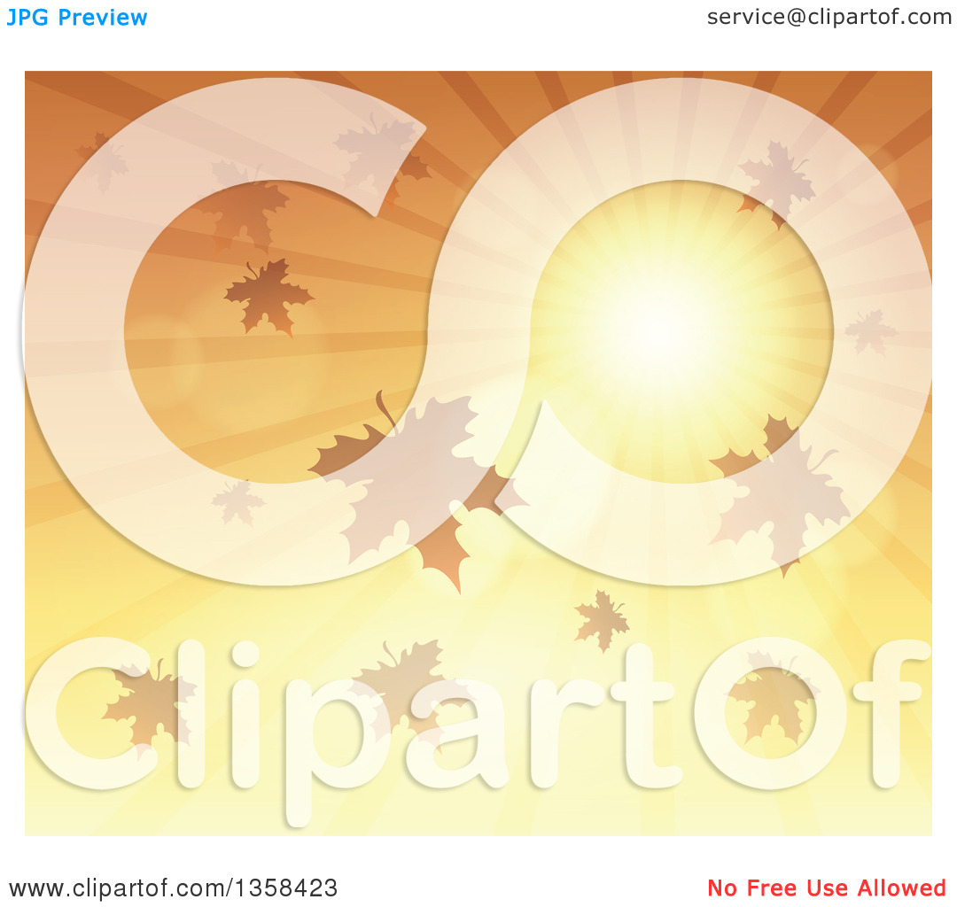Clipart of a Background of a Golden Sunset Sun Shining in the Sky.