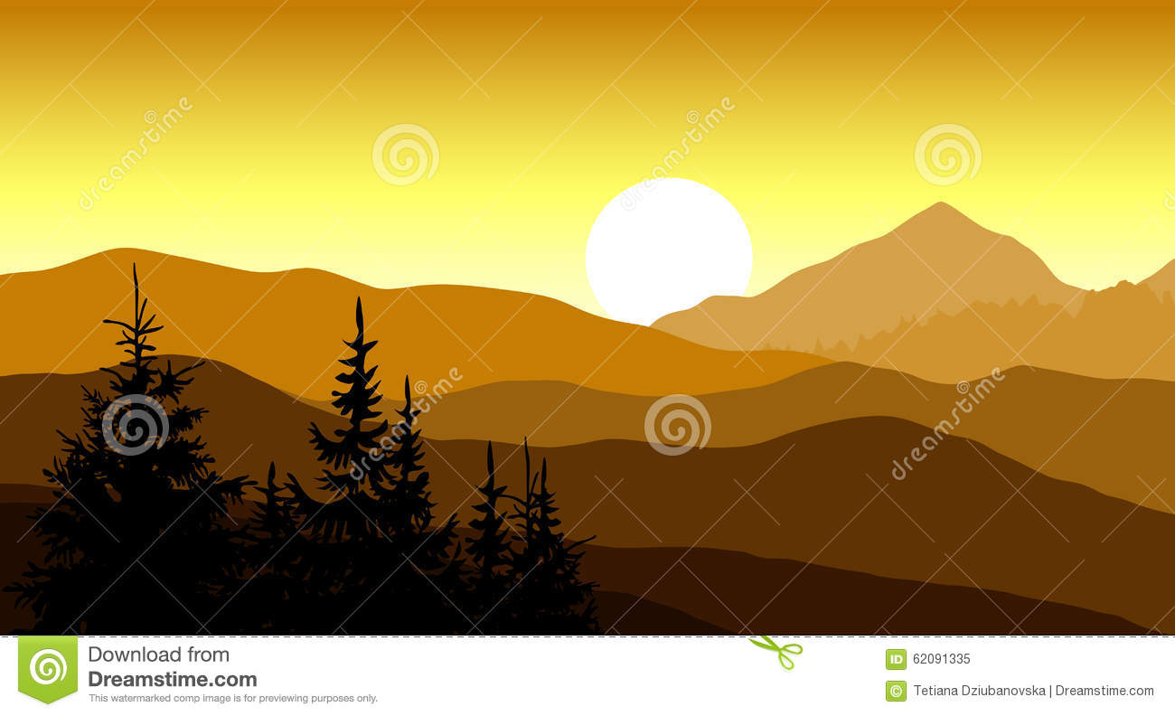 Golden Sunset In The Mountains. Vector Illustration. Stock Vector.