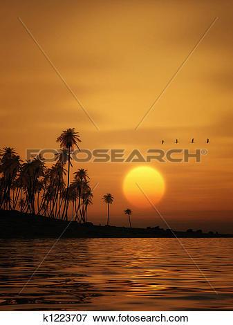 Stock Illustration of golden sunset k1223707.