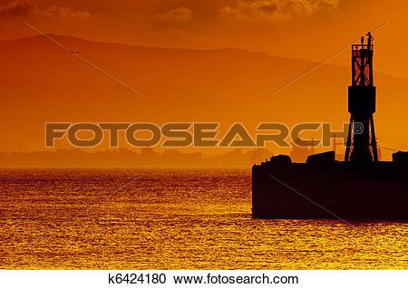 Stock Photography of Golden Sunset Gibraltar Harbor k6424180.