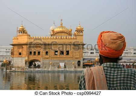 Picture of Sikh Man Praying at Golden Temple, Amritsar, India.