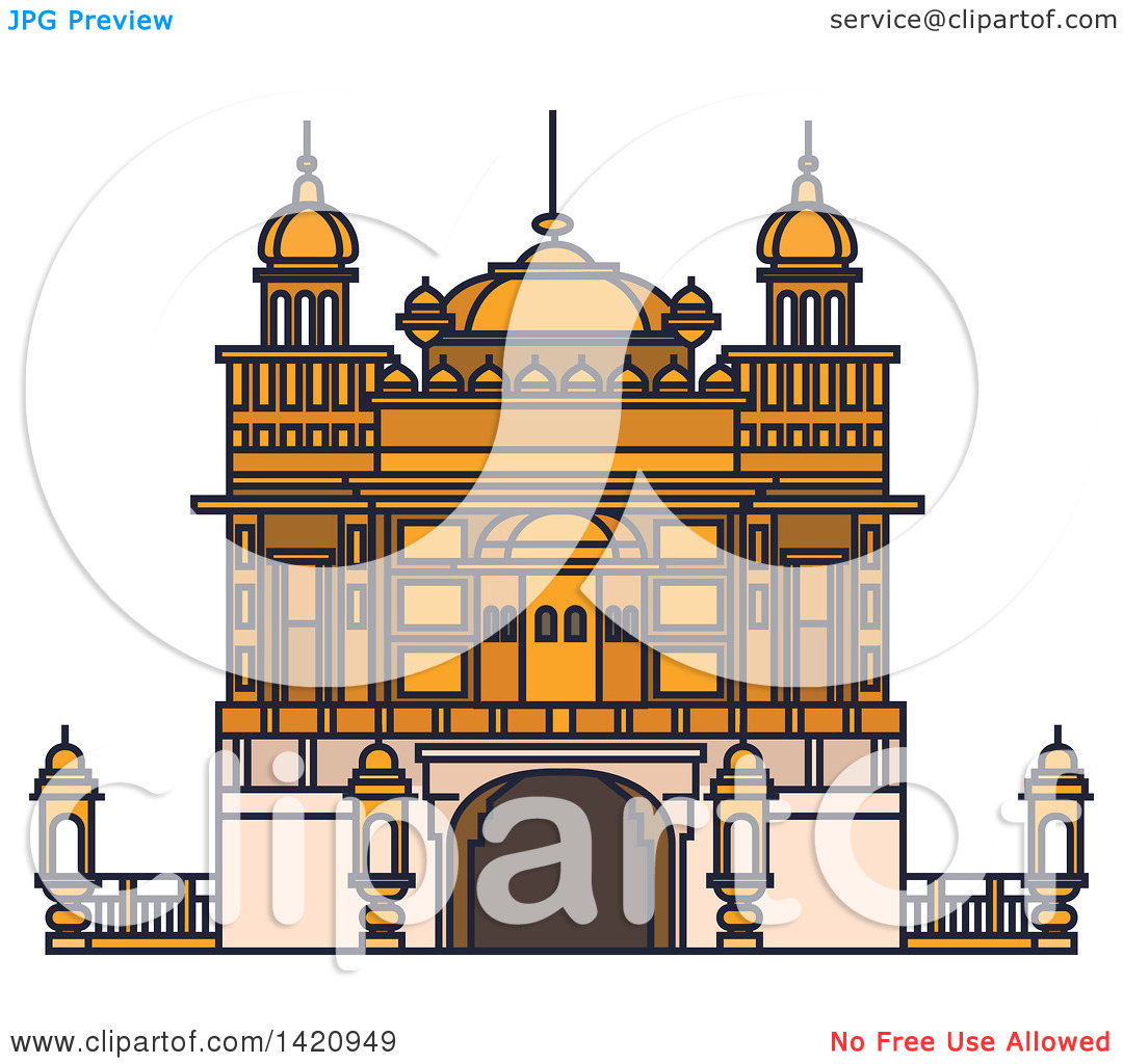 Clipart of a India Landmark, Sikh Golden Temple.