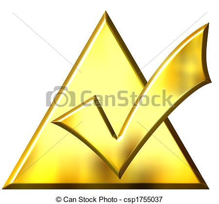 Stock Illustrations of 3D Golden Ticked Triangle.