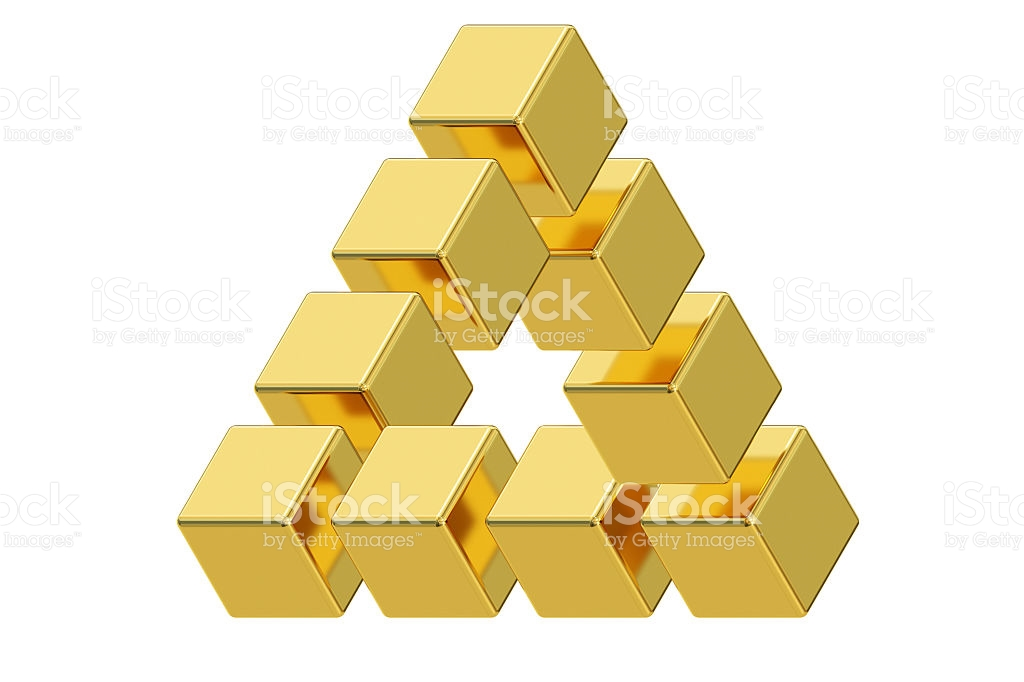 Impossible Golden Triangle Optical Illusion 3d Rendering stock.