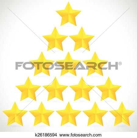 Clipart of Glossy, golden stars in triangle form with slight.