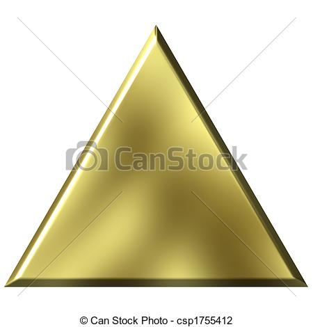 Clip Art of 3D Golden Triangle.