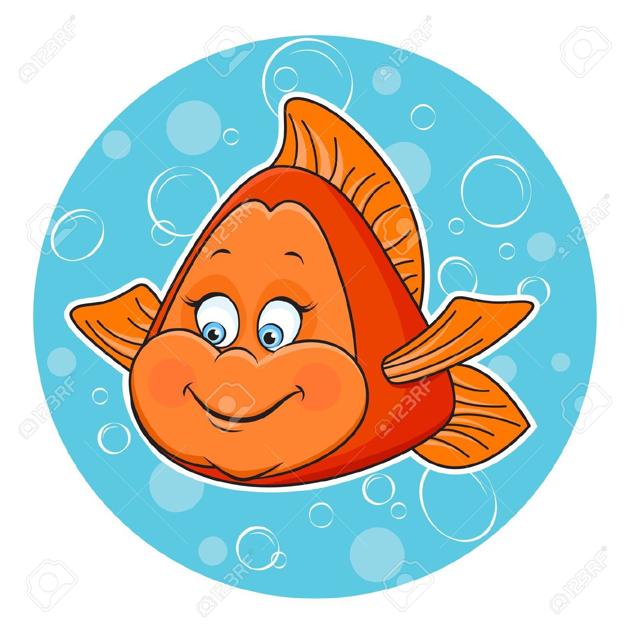 Illustration Of Fun Golden Fish In The Water Royalty Free Cliparts.