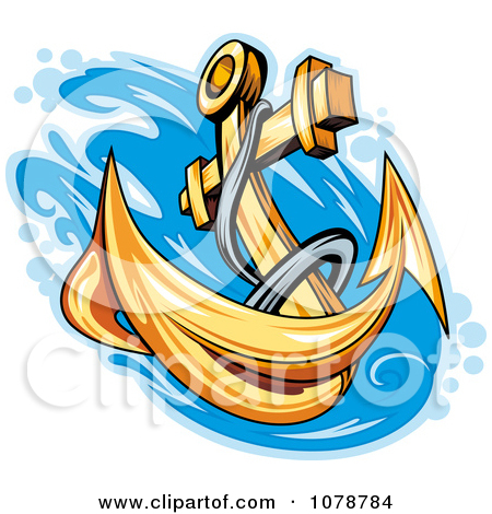 Clipart Golden Anchor Splashing Into Water.