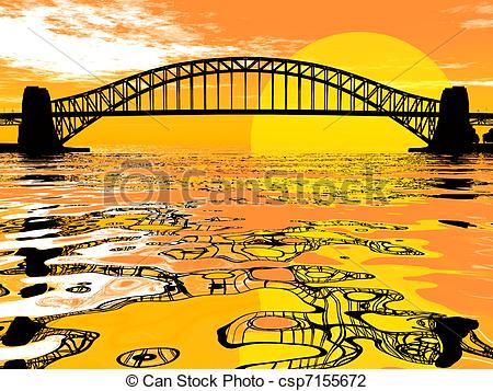 Clip Art of Bridge over golden water and a sunset csp7155672.