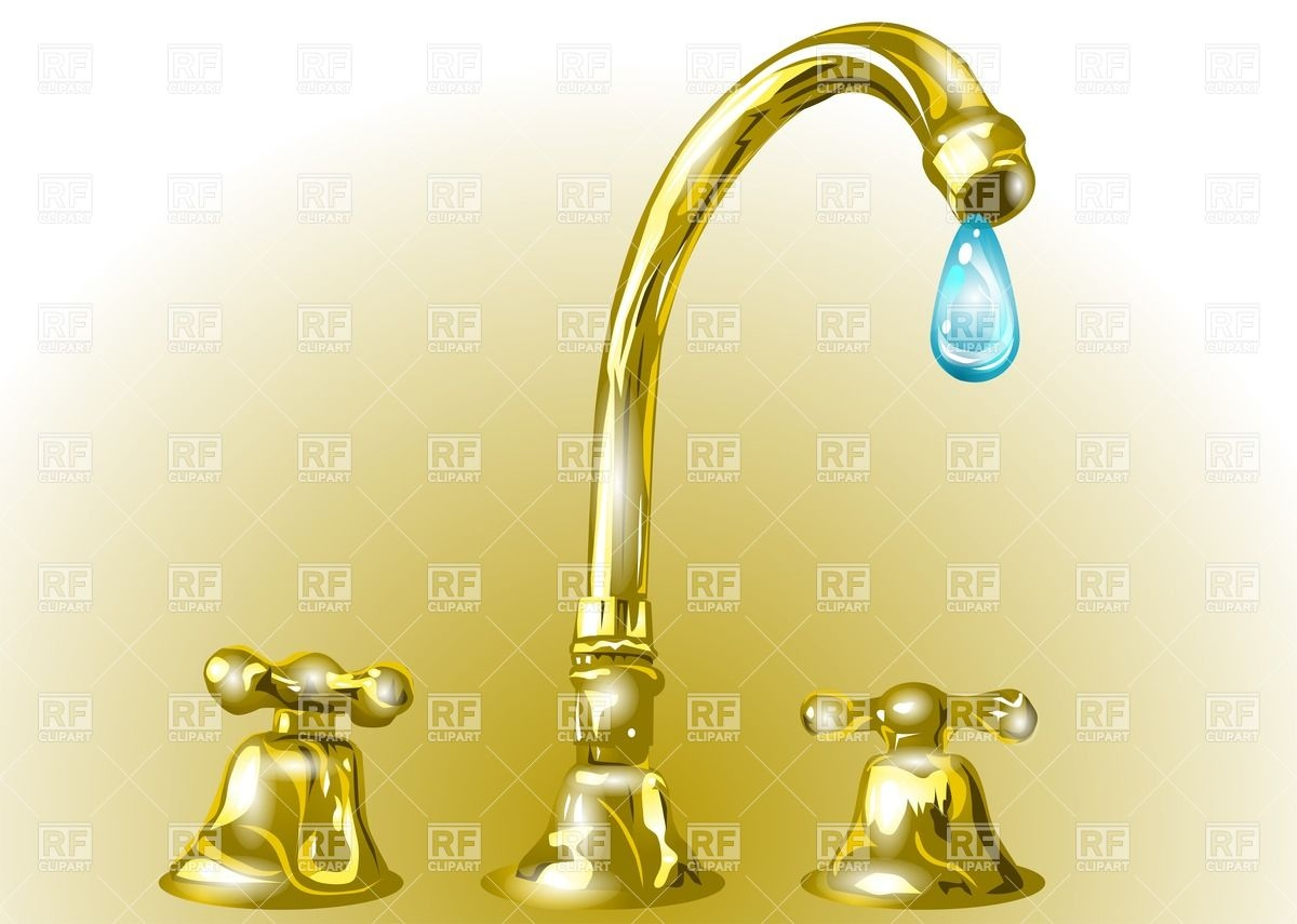 Golden faucet with a drop of water Vector Image #27136.