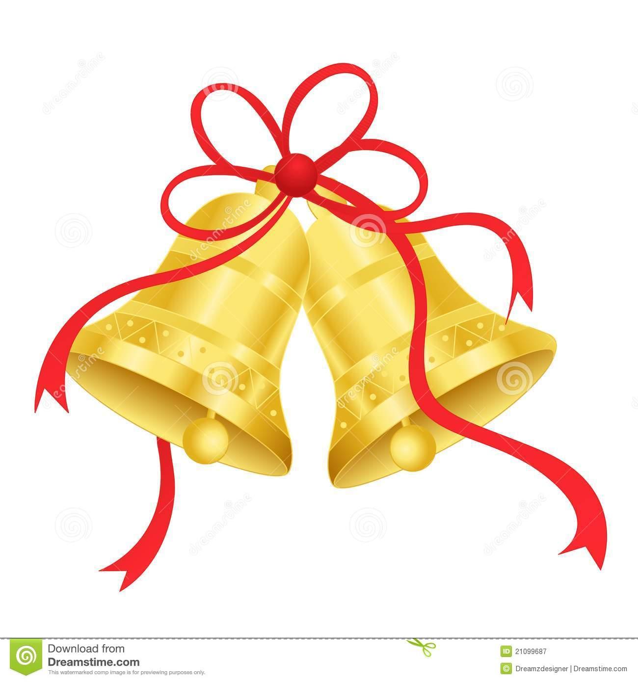 Golden Wedding Bells Clipart.