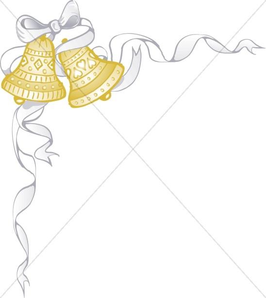 White Ribbon Wraps Around Golden Marriage Bells.