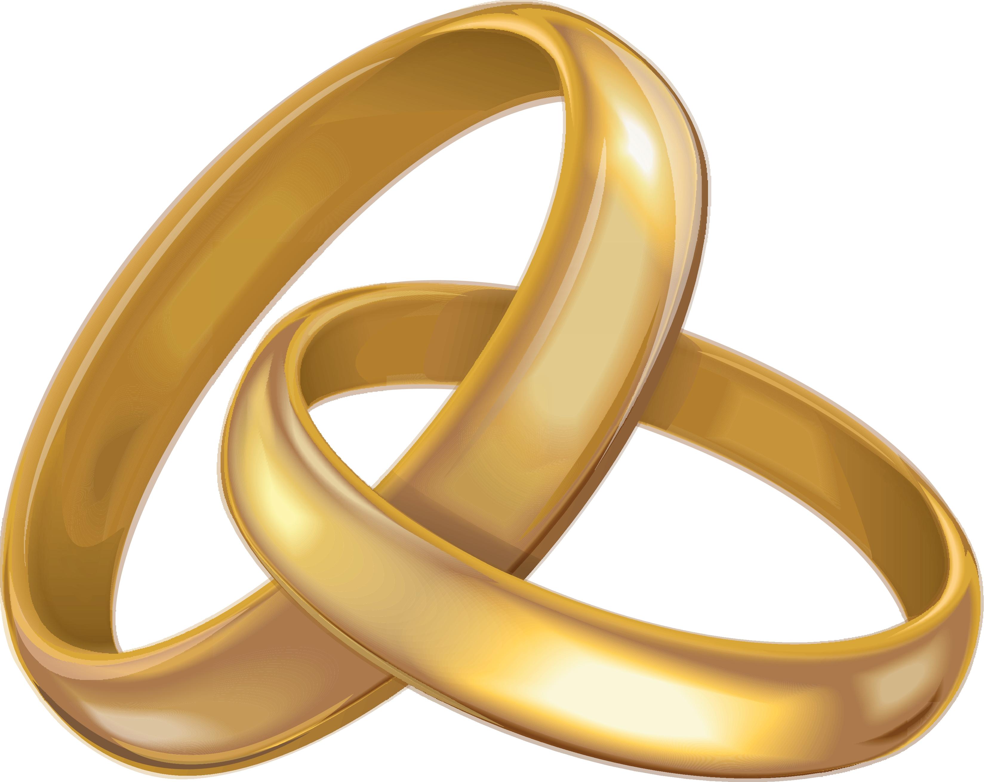 Clip art of gold wedding bands.