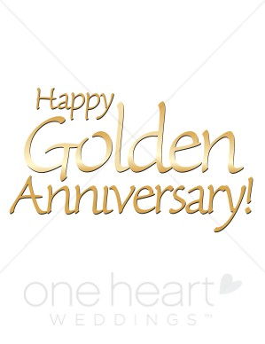 Golden Wedding Anniversary Clipart.