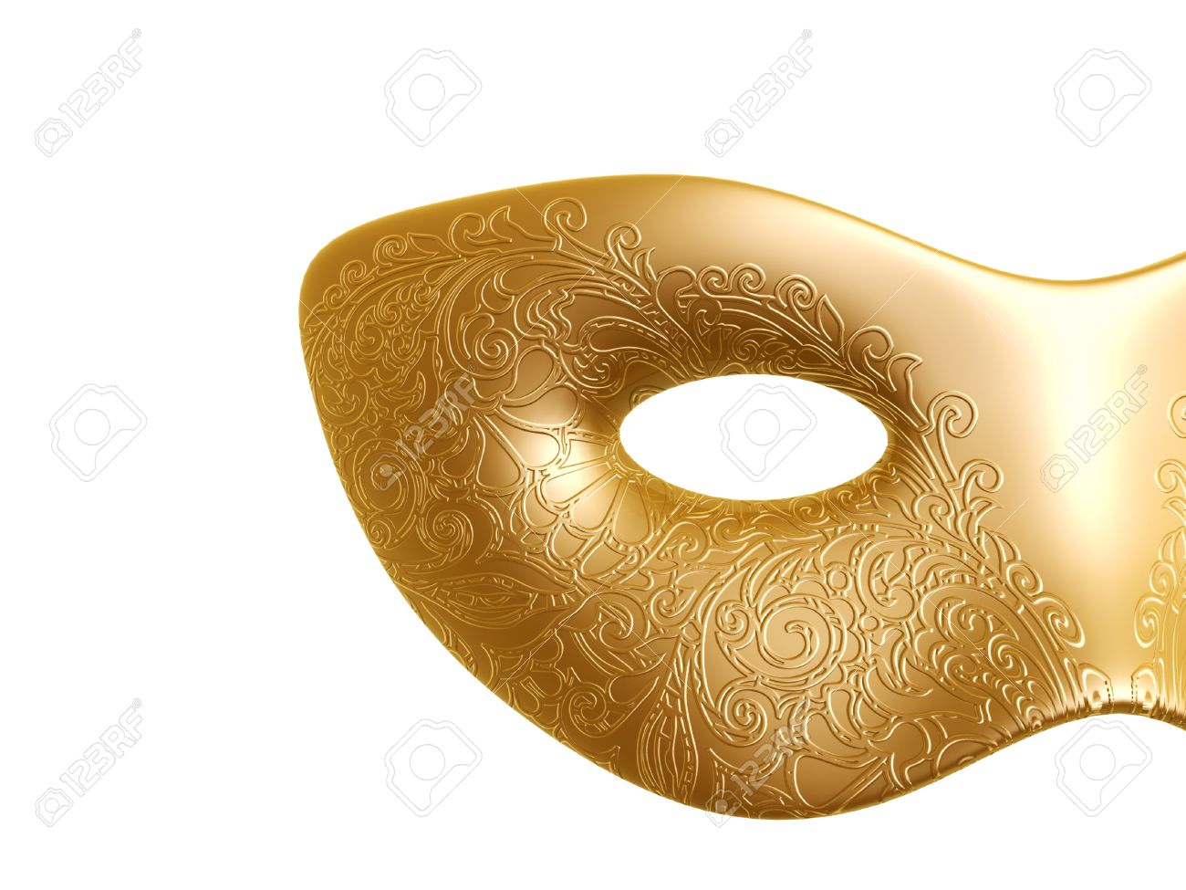 Golden Carnival Mask With Flora Texture Pattern Isolated On White.
