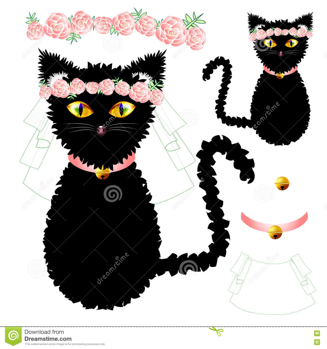 Black Cat Bride With Yellow Eyes, Crown Pink Rose Flower, Golden.