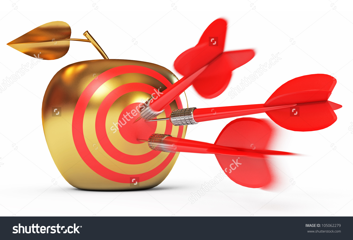 Hit Bullseye Golden Apple Game Darts Stock Illustration 105062279.