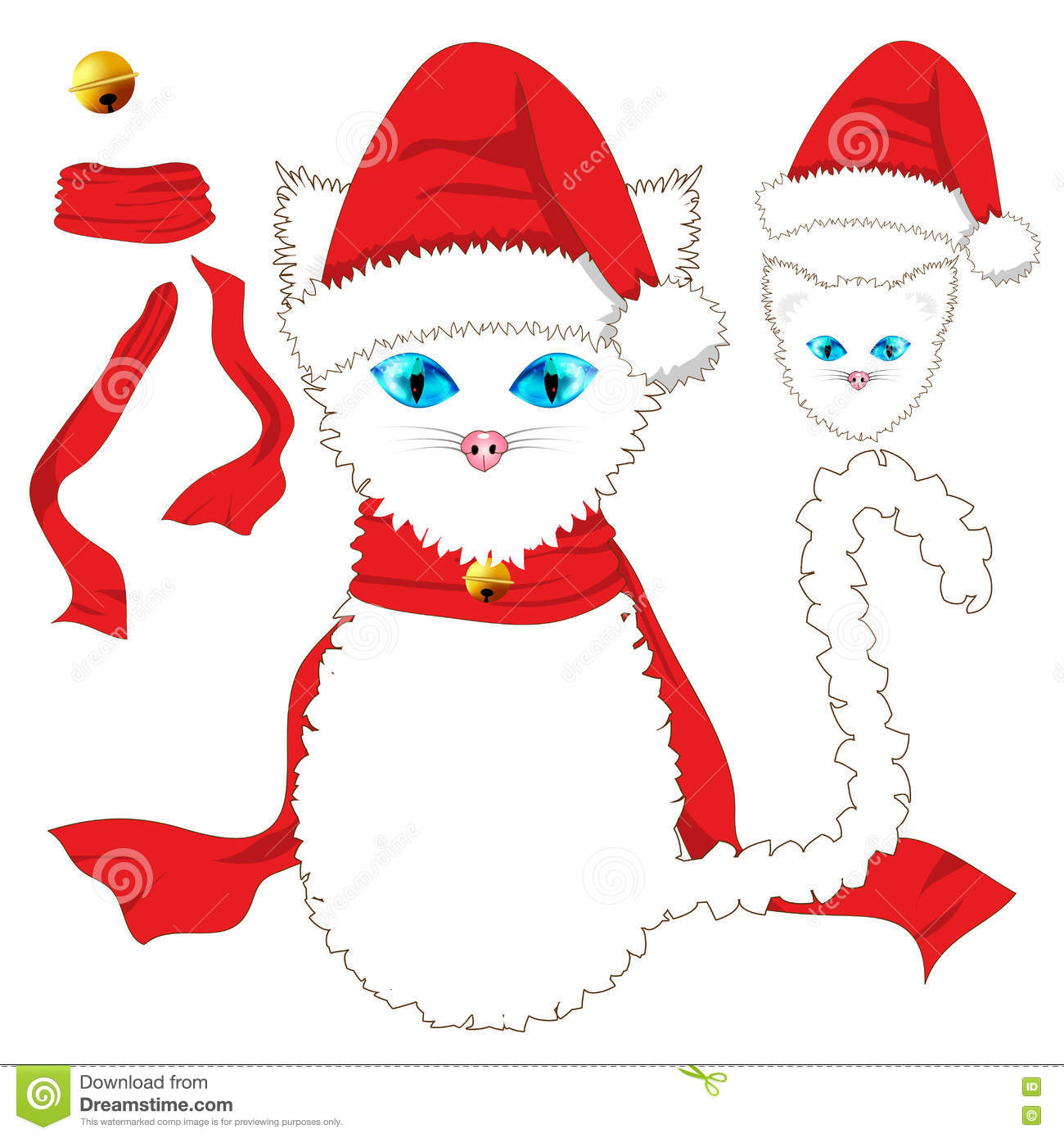 White Cat With Blue Eyes. Santa Hat, Red Ribbon Scarf And Golden.