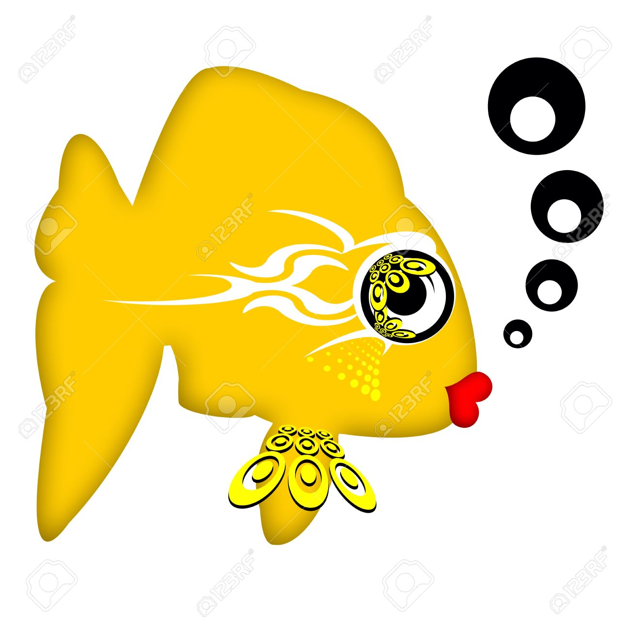 Pretty Fashionable Chic Golden Fish With Big Romantic Eyes And.