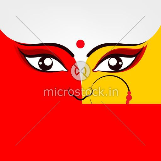 Illustration of Goddess Durga in two bright colours red and golden.