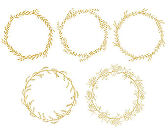 Gold Wreath Clipart, Gold Foil Clipart, Fern Clip art, Commercial.