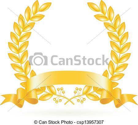 Vector Clipart of Gold Wreath, vector csp13957307.