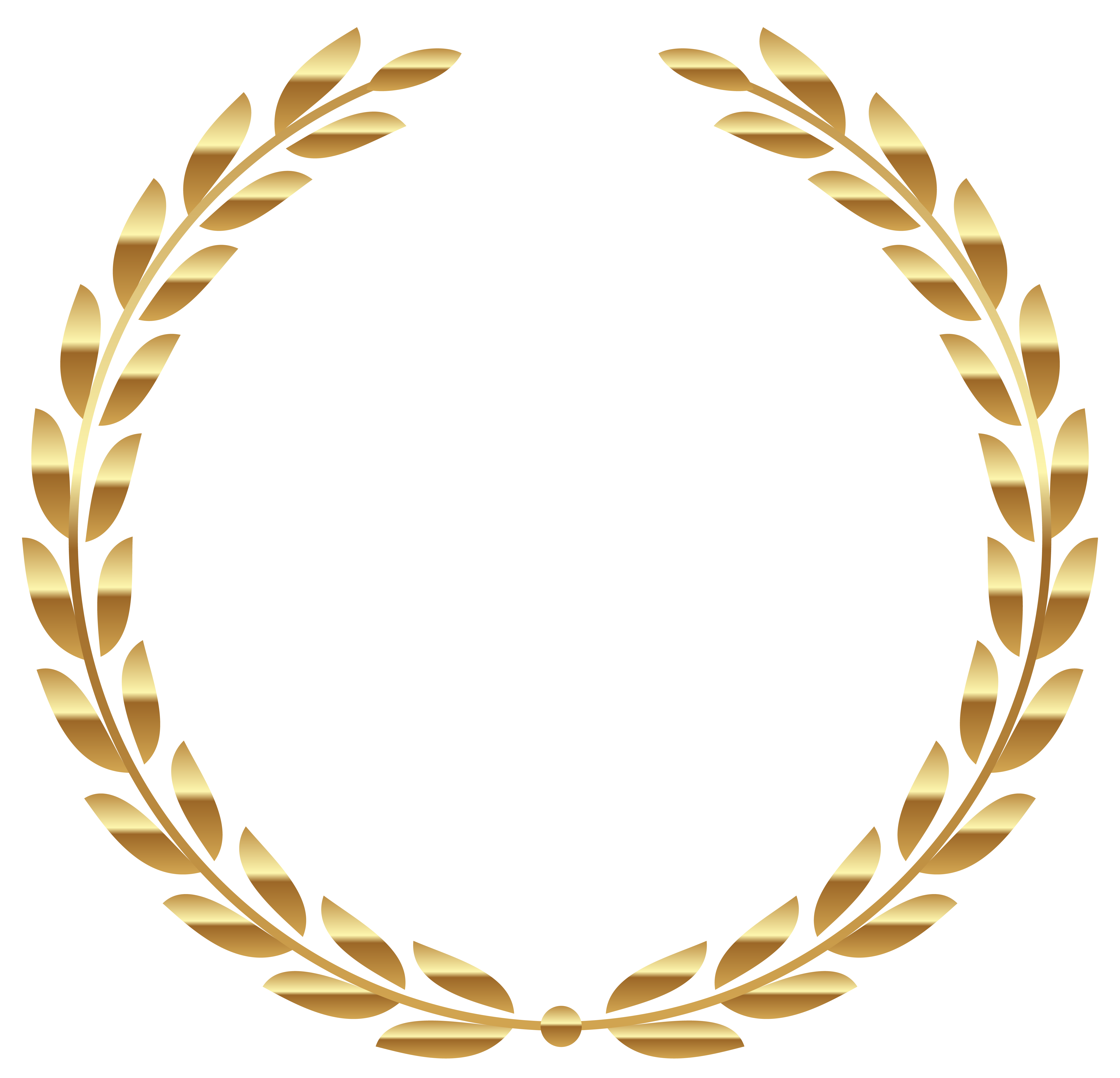 Transparent Gold Wreath PNG Clipart Picture.